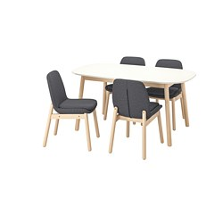 VEDBO/VEDBO - Table and 4 chairs, white/birch