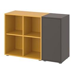 EKET - Kombinasi kabinet dengan kaki, abu-abu tua/emas-cokelat