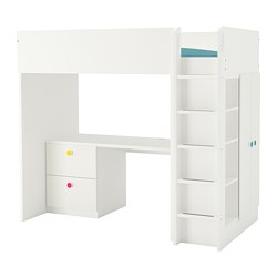 STUVA/FÖLJA - Loft bed combo w 2 drawer/2 doors, white