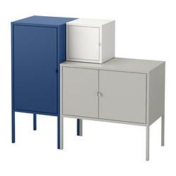 LIXHULT - Kombinasi penyimpanan, abu-abu/putih/biru tua