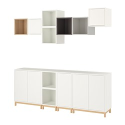 EKET - Cabinet combination with legs, white white stained oak effect/light grey/dark grey