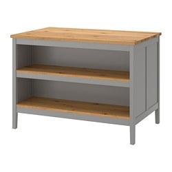 TORNVIKEN - Meja tengah dapur, abu-abu/kayu oak