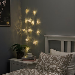 STRÅLA - LED lighting chain with 12 lights, battery-operated/snowflakes