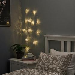 STRÅLA - Rantai lampu LED dengan 12 lampu, dioperasikan dengan baterai/kristal salju