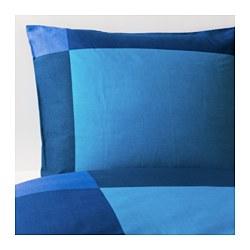BRUNKRISSLA - Sarung quilt dan 2 sarung bantal, biru