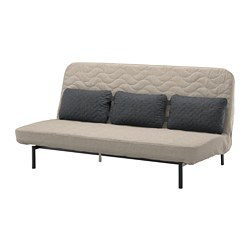 NYHAMN - Sofa-bed with triple cushion, with pocket spring mattress/Hyllie beige
