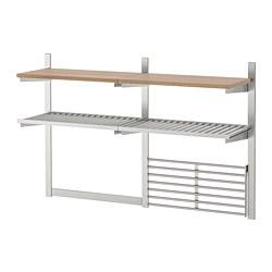 KUNGSFORS - Susp rail/shlf/mgnt knf rk/wll grid, stainless steel/ash veneer