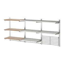 KUNGSFORS - Susp rail/shelf/rail/wall grid, stainless steel/ash veneer