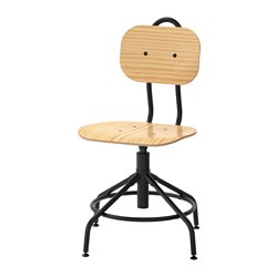 KULLABERG - Swivel chair, pine/black
