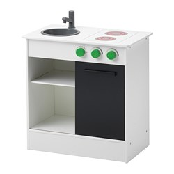 NYBAKAD - Play kitchen with sliding door, white