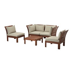 ÄPPLARÖ - 4-seat conversation set, outdoor, brown stained/Hållö beige