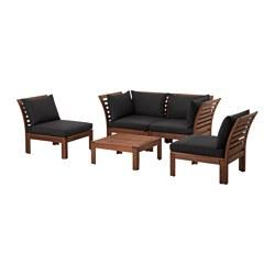 ÄPPLARÖ - 4-seat conversation set, outdoor, brown stained/Hållö black