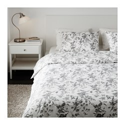 ALVINE KVIST - Quilt cover and 4 pillowcases, white/grey