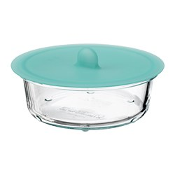 IKEA 365+ - Food container with lid, round glass/silicone