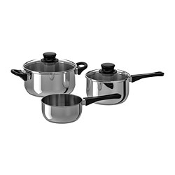 ANNONS - 5-piece cookware set, glass/stainless steel
