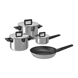 SNITSIG - 7-piece cookware set, stainless steel