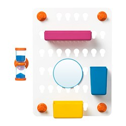 LÅDDAN - 6-piece storage board set, with suction cups/mixed colours