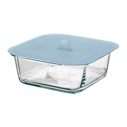 IKEA 365+ - Food container with lid, square glass/silicone