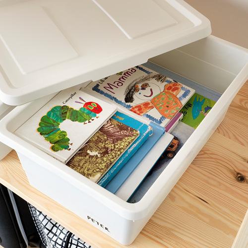 SOCKERBIT - kotak dengan penutup, putih, 38x25x15 cm | IKEA Indonesia - PE625948_S4