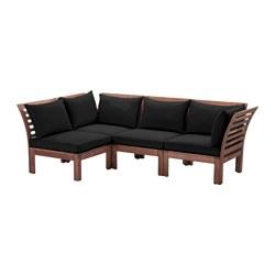 ÄPPLARÖ - Modular corner sofa 3-seat, outdoor, brown stained/Hållö black