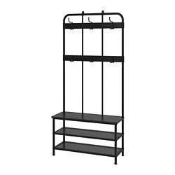 PINNIG - Coat rack with shoe storage bench, black