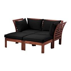 ÄPPLARÖ - Sofa mdlr dua dudukan, luar ruangan, dengan bangku kaki diwarnai cokelat/Hållö hitam