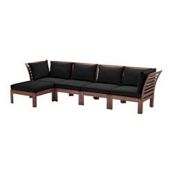 ÄPPLARÖ - Sofa mdlr empat ddkn, luar ruangan, dengan bangku kaki diwarnai cokelat/Hållö hitam