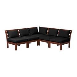ÄPPLARÖ - Modular corner sofa 4-seat, outdoor, brown stained/Hållö black