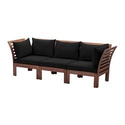 ÄPPLARÖ - 3-seat modular sofa, outdoor, brown stained/Hållö black