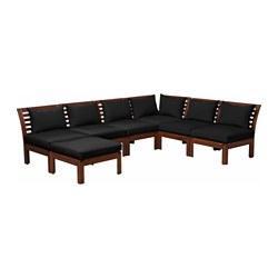ÄPPLARÖ - Modular corner sofa 5-seat, outdoor, with footstool brown stained/Hållö black