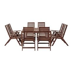 ÄPPLARÖ - Meja+8 kursi sandar, luar ruang diwarnai cokelat