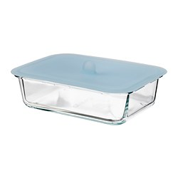 IKEA 365+ - Food container with lid, rectangular glass/silicone