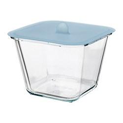 IKEA 365+ - Kotak makan dengan penutup, segi empat kaca/silikon