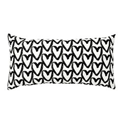 LYKTFIBBLA - LYKTFIBBLA, bantal kursi, putih/hitam, 30x58 cm