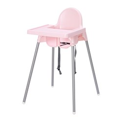 ANTILOP - Highchair with tray, pink/silver-colour