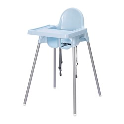 ANTILOP - Highchair with tray, light blue/silver-colour