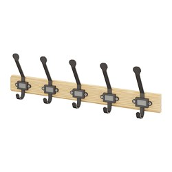 KARTOTEK - Rack with 5 hooks, pine/grey