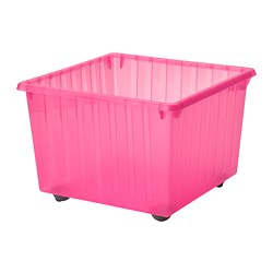 VESSLA - Penyimpanan dengan roda, merah muda terang, 39x39 cm