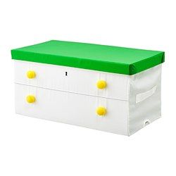 FLYTTBAR - Kotak dengan penutup, hijau/putih, 79x42x41 cm