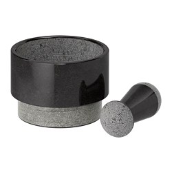 ÄDELSTEN - Pestle and mortar, marble black
