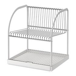 BESTÅENDE - Dish drainer, silver-colour/white