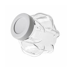 FÖRVAR - Stoples dengan penutup, kaca/warna aluminium