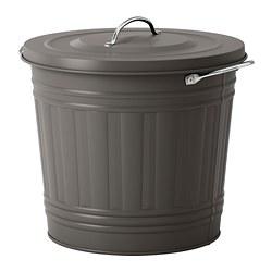 KNODD - KNODD, tempat sampah dg penutup, abu-abu, 16 l