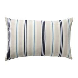 SMALSTÄKRA - Sarung bantal kursi, krem/biru/garis-garis, 40x65 cm