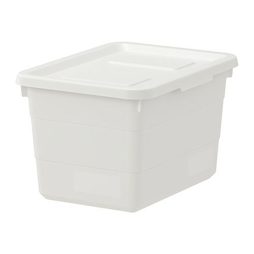 SOCKERBIT - kotak dengan penutup, putih, 19x26x15 cm   IKEA Indonesia - PE728054_S4