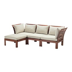 ÄPPLARÖ - 3-seat modular sofa, outdoor, with footstool brown stained/Hållö beige