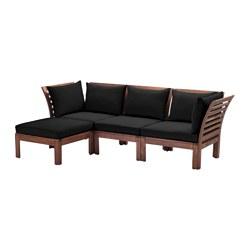 ÄPPLARÖ - 3-seat modular sofa, outdoor, with footstool brown stained/Hållö black