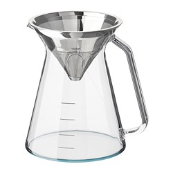HÖGMODIG - Coffee maker for drip coffee, clear glass/stainless steel