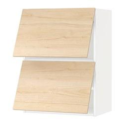 METOD - Kab dinding horizontal dg 2 pintu, putih/Askersund efek kayu ash terang