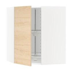 METOD - Kabinet dinding sudut dg karosel, putih/Askersund efek kayu ash terang